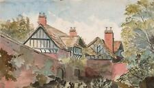 IMPRESSIONIST COTTAGE IN LANDSCAPE Victorian Watercolour Painting c1880