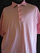 Peter Millar Pink With Green Stripes PWC Corporate Logo Cotton Golf Shirt XL