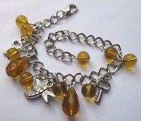 Joli bracelet bijou vintage couleur argent pampilles perles verre topaze 2054