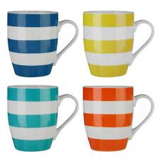 Set of 4 Coffee Mugs Stripe Bone China Porcelain Home Office Tea Cups