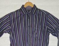 Bugatchi Mens Long Sleeve Size L Purple Dark Gray Striped Dress Shirt Flip Cuffs