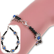 New Fashion Tibetan Silver Hamsa Fatima Beaded Chain Hand Evil Eye Bracelet