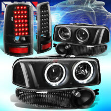 For 01-06 Yukon Denali Black Halo Projector Headlight+Bumper+Led Tail Lamp Set