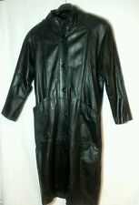 Long Leather Button Up Coat by Laura Winston Size S Made in Korea
