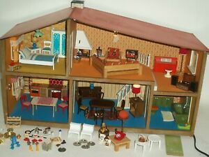 Vintage 60's-70's Lundby Electric Five Room Furnished Doll House 1:12 scale