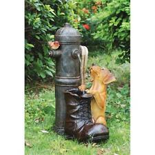 Fire Hydrant Fireman's Boot & Pup Dog Canine Sculptural LED Light Water Fountain