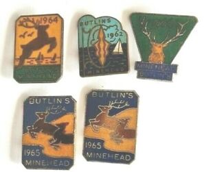 Butlin's-Minehead-Enamel Badges X 5-Pair of 1965 Badges, also 1962,1964 and 1966
