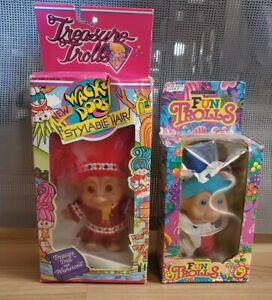 Troll Doll Treasure Button Wishstone Wacky Doos & Fun Trolls Red & Blue Hair VTG