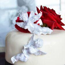 2 Vintage White Violin Trumpet Music Angels Cake Topper Wedding Party Decoration