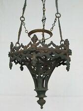 Lampe veilleuse de sanctuaire néo-gothique hexagonale en bronze doré , XIXème