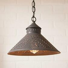 Country new blacken punched tin WILLOW hanging light / nice