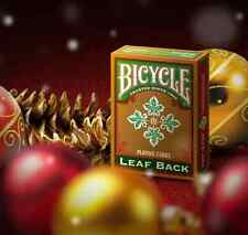 BICYCLE LEAF BACK GREEN PLAYING CARDS GOLD EDITION NEW CHRISTMAS