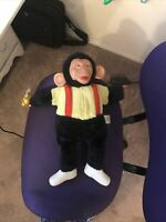 Vintage Mr. Bim Zip Zippy Monkey Chimpanzee Rubber Face Plush with Banana 18""