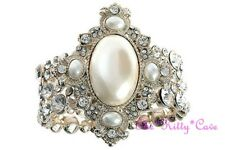 Vintage Deco Bridal Wide Gold Pearl Feature Cuff Bracelet w/ Swarovski Crystals