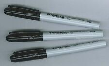 Lot of 3 Black Fine Point Universal Felt Tip Markers