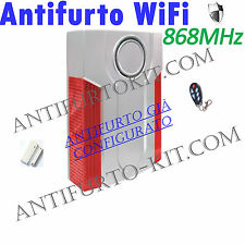 Kit Sirena Wireless Casa 868 Mhz senza Fili ALLARME Capannone Garage Antifurto