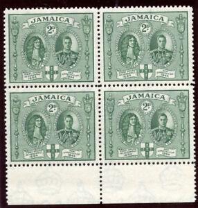 Jamaica 1945 KGVI New Constitution 2d green (p12½) block MNH. SG 135. Sc 130a.