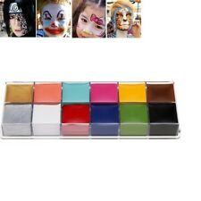 Halloween 12Color Natural Make Up Face Body Paint Palette Fun Fancy Painting