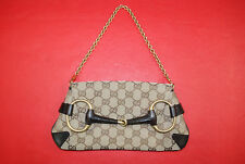 GUCCI Small GG Canvas Horsebit Gold Chain Clutch Shoulder Bag Handbag Purse