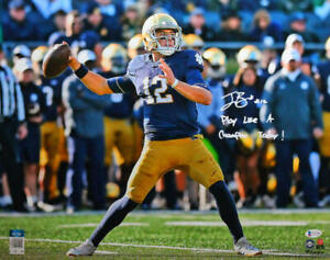 Ian Book Autographed Notre Dame Passing 16x20 FP Photo w/ PLACT- Beckett W*White