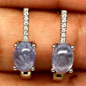 NATURAL 5 X 7mm. OVAL CABOCHON BLUE TANZANITE & WHITE CZ EARRINGS 925 SILVER