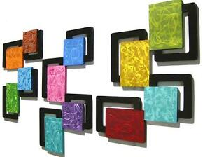 Colorful swirly Abstract Square Wall Decor Wall Hanging Sculpture, Home Decor