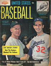 1964 United States Baseball magazine,Sandy Koufax,Dodgers,Whitey Ford,Yankees~Gd