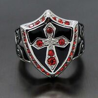 MEN's Ruby Red Cubic Zirconia Cross Shield 316L Stainless Steel Ring
