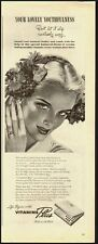1940's Vintage ad for Vitamins Plus/Lady with flowers in hair/Art (040213)