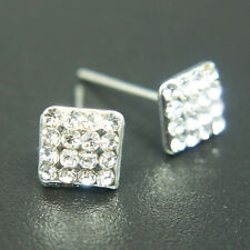 14k white Gold plated brilliant square earrings with Swarovski elements crystals