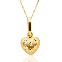 Puffed Mini Heart Charm Cable Chain Pendant Necklace Real 14K Solid Yellow Gold
