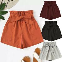 Womens High Waisted Ribbed Casual Summer Beach Ladies Holiday Hot Pants Shorts