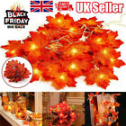 LED Light Artificial Autumn Fall Maple Leaves Garland Hanging Plant Home Decor