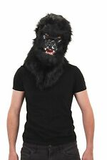 Gorilla Mask Black Faux Fur Mouth Mover Moving Jaw Mask