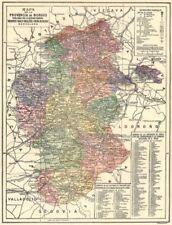 España. mapa de la provincia de Burgos 1913 Viejo Antiguo Vintage Cuadro De Plan