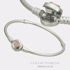 """Authentic Pandora Silver & 14K Gold Signature Clear CZ Bracelet 8.3"""" 590741CZ"""