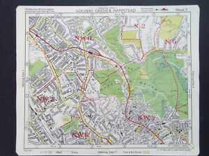 LONDON VINTAGE HAMPSTEAD GOLDERS GREEN CRICKLEWOOD  BACONS 1949 MAP 18x22CM