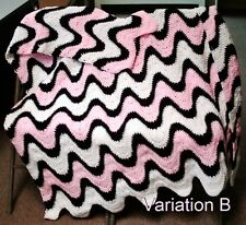 3 Color Exaggerated Ripple Afghan / Throw  Crochet Pattern