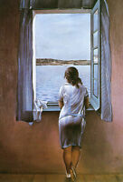 """Girl at the Window  by Dali  14"""" Canvas Print  Repro"""
