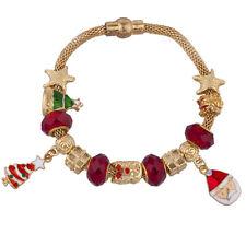 Lux Accessories Gold Tone Red Green Christmas Xmas Tree Santa Charm Bracelet