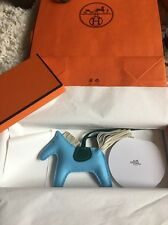 NIB AUTHENTIC HERMES CELESTE BLUE RODEO PM HORSE KEY CHAIN BAG CHARM BRAND NEW