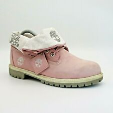 Timberland Roll Top Boots Pink White Suede Size 5 UK 37.5 EUR