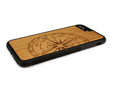 Handcrafted Wood iPhone 7 Plus Case with Soft Rubber Sides by Nuwoods, Compass
