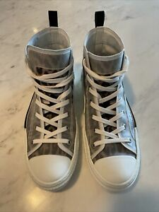 100% Authentic Men CHRISTIAN DIOR B23 High-Top Sneakers in Leopard Canvas Shoes