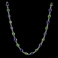 SUFFRAGETTE AMETHYST PERIDOT CHAIN 9CT WHITE GOLD LINK NECKLACE