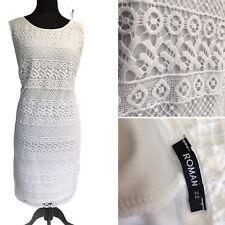 ROMAN Women's White Dress Size 22 Midi Pencil  Lace Lagenlook Party Cocktail