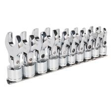 Flexible Crows Foot Open End Spanner Set 10pc 3/8 Drive Metric 10-19mm
