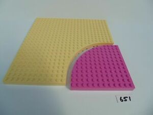 LEGO Friends Base Plates 24 x 24 Pale Yellow with Pink Quadrant Lot 651