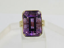 Solid 14k Yellow Gold 18x13mm Purple Spinel Gemstone Solitaire Ring Size 8.25