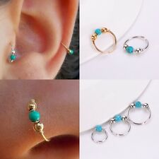 Nose/ear Ring Adjustable And Fake With A Turquoise Stone Jewel Piercing